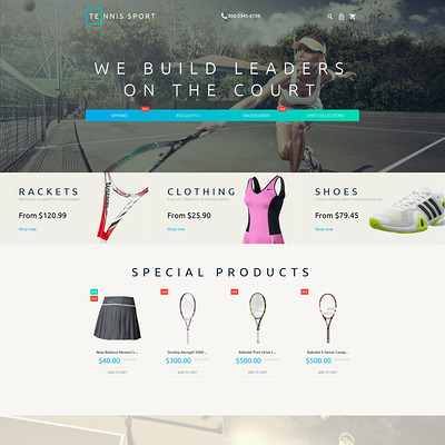 Tennis Accessories Magento Theme (Magento theme for sports stores) Item Picture