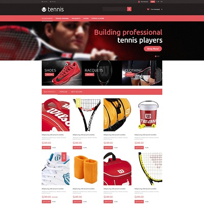 Tennis Accessories PrestaShop Theme (PrestaShop theme for sports stores) Item Picture
