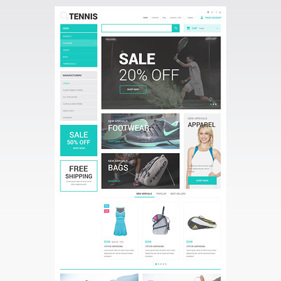Tennis Accessories Store PrestaShop Theme (PrestaShop theme for sports stores) Item Picture