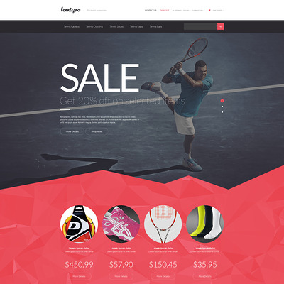 Tennis Gear PrestaShop Theme (PrestaShop theme for sports stores) Item Picture