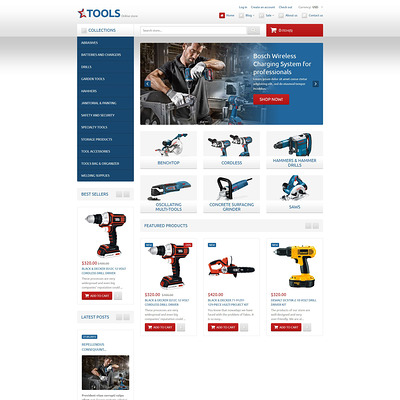 Tools & Equipment Responsive Shopify Theme (Shopify theme for tools and home improvement stores) Item Picture