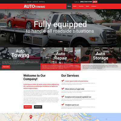Towing Company WordPress Theme (WordPress theme for car, vehicle, and automotive websites) Item Picture