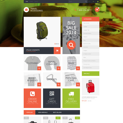 Travel Essentials PrestaShop Theme (PrestaShop theme for travel websites) Item Picture