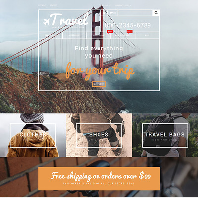 Travel Gear Store PrestaShop Theme (PrestaShop theme for travel websites) Item Picture