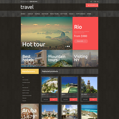 Traveling PrestaShop Theme (PrestaShop themes for travel and tourism companies) Item Picture