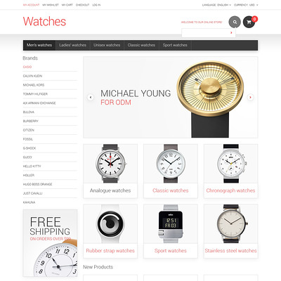Watches Responsive Magento Theme (Magento theme for selling jewelry and watches) Item Picture