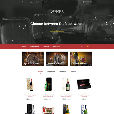 Wines PrestaShop Theme (PrestaShop theme for liquor, alcohol, beer, and wine stores) Item Picture