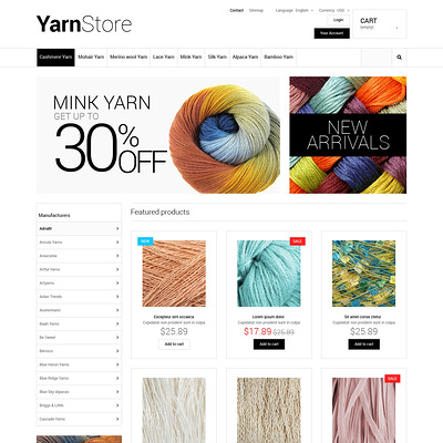 Yarn Store PrestaShop Theme (PrestaShop theme for craft stores) Item Picture