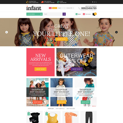 Baby Store Responsive Shopify Theme (parallax Shopify theme) Item Picture