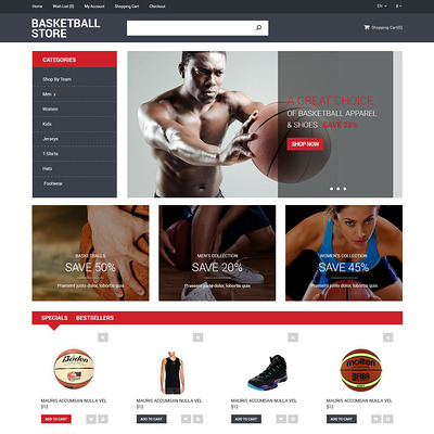 Basketball Store OpenCart Template (OpenCart theme for sports, gym, and fitness stores) Item Picture