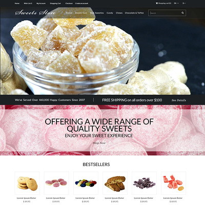 Candy Shop OpenCart Template (OpenCart theme for selling food and spices) Item Picture