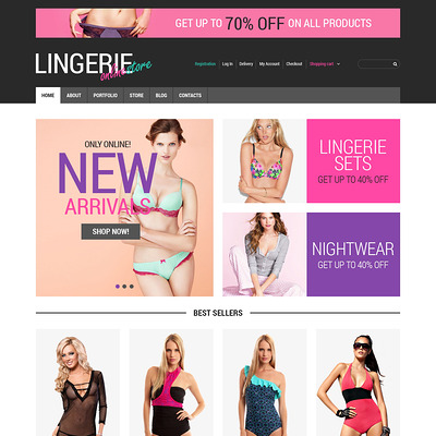Feminine Lingerie WooCommerce Theme (WooCommerce theme for selling lingerie and underwear) Item Picture