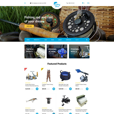 Fishing Store OpenCart Template (OpenCart theme for marine, yachting, fishing, and diving stores) Item Picture