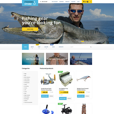 Fishing Store WooCommerce Theme (WooCommerce theme for marine, yachting, diving, and fishing stores) Item Picture