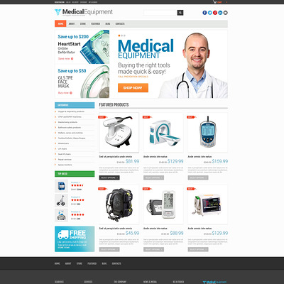 Medical Equipment Responsive WooCommerce Theme (WooCommerce theme for health and medical stores) Item Picture