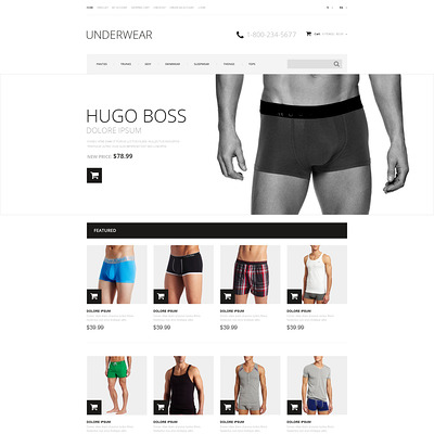 Men's Underwear Responsive OpenCart Template (OpenCart theme for selling lingerie and underwear) Item Picture