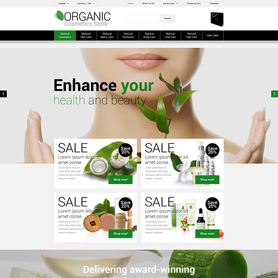 Organic Cosmetics Store OpenCart Template (OpenCart theme for selling cosmetics, hair products, and perfumes) Item Picture