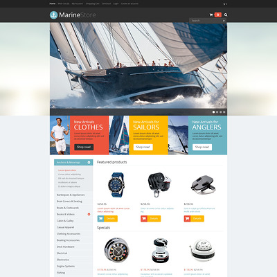 Responsive Marine Store OpenCart Template (OpenCart theme for marine, yachting, fishing, and diving stores) Item Picture