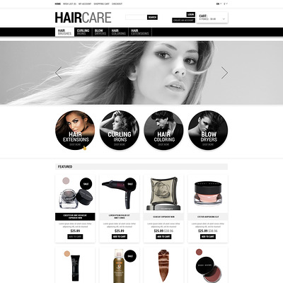 Tender Care for Your Hair OpenCart Template (OpenCart theme for selling cosmetics, hair products, and perfumes) Item Picture