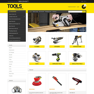 Tools & Equipment Responsive OpenCart Template (OpenCart theme for selling tools) Item Picture