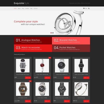 Watches Responsive WooCommerce Theme (WooCommerce theme for selling jewelry and watches) Item Picture