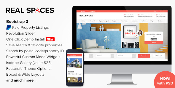 Real Spaces (real-estate WordPress theme) Item Picture