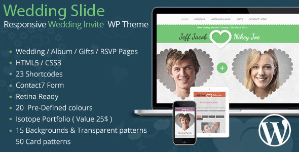 Wedding Slide Responsive Wedding Invite WordPress (WordPress theme) Item Picture