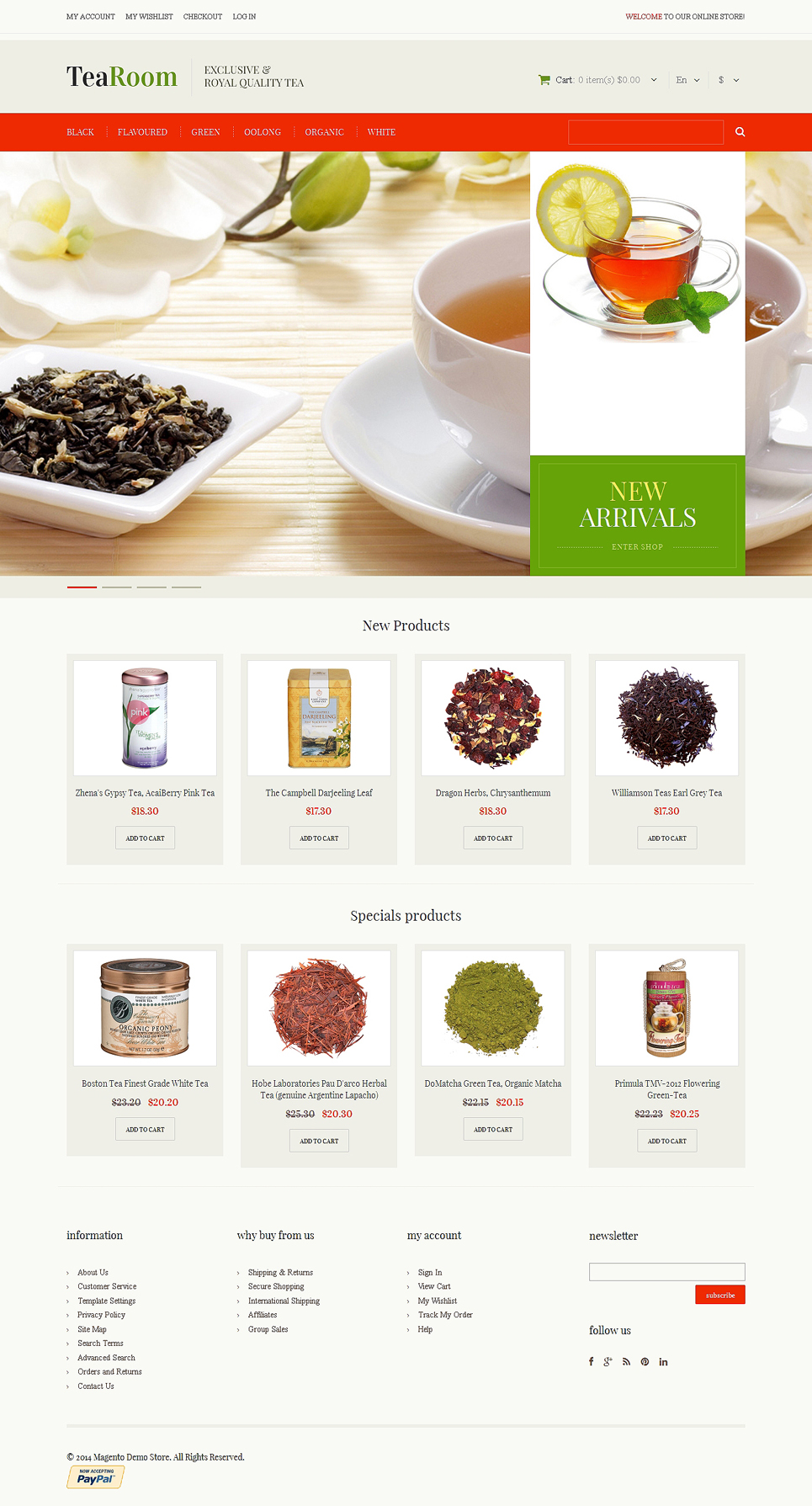 Quality Tea Magento Theme (website template for ecommerce) Item Picture