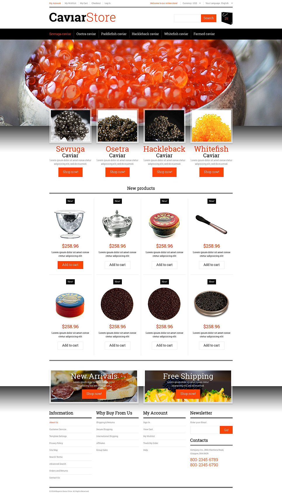 Sell Buy Caviar Magento Theme (website template for ecommerce) Item Picture
