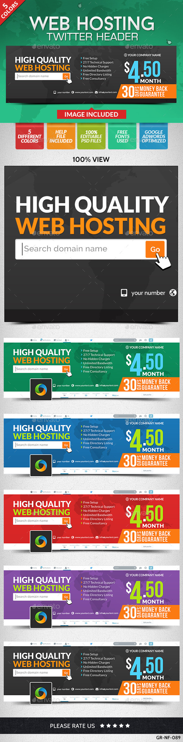 WebHosting Twitter header (set of Twitter header images) Item Picture