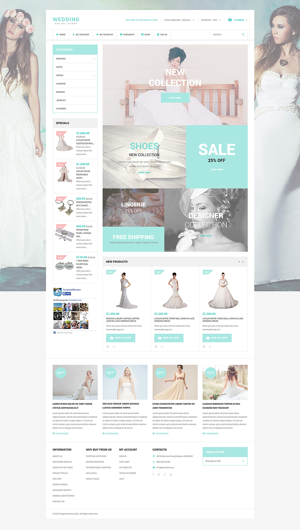 Wedding Style Magento Theme (wedding industry website theme) Item Picture