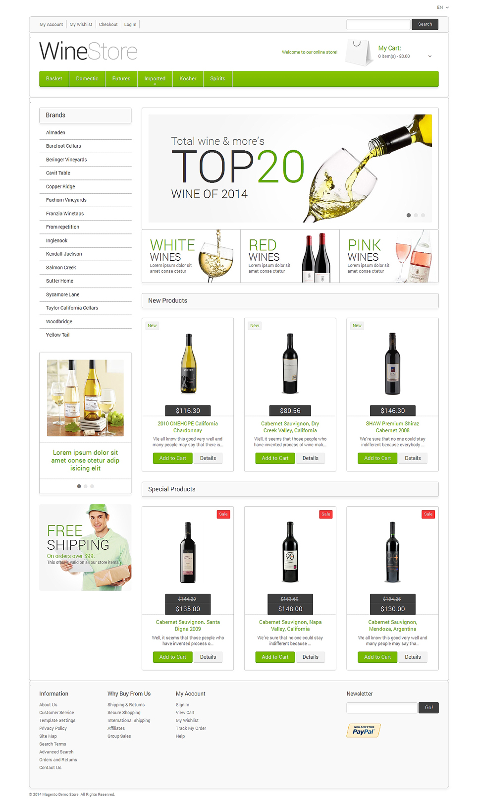 Wine for Your Delight Magento Theme (website template for ecommerce) Item Picture