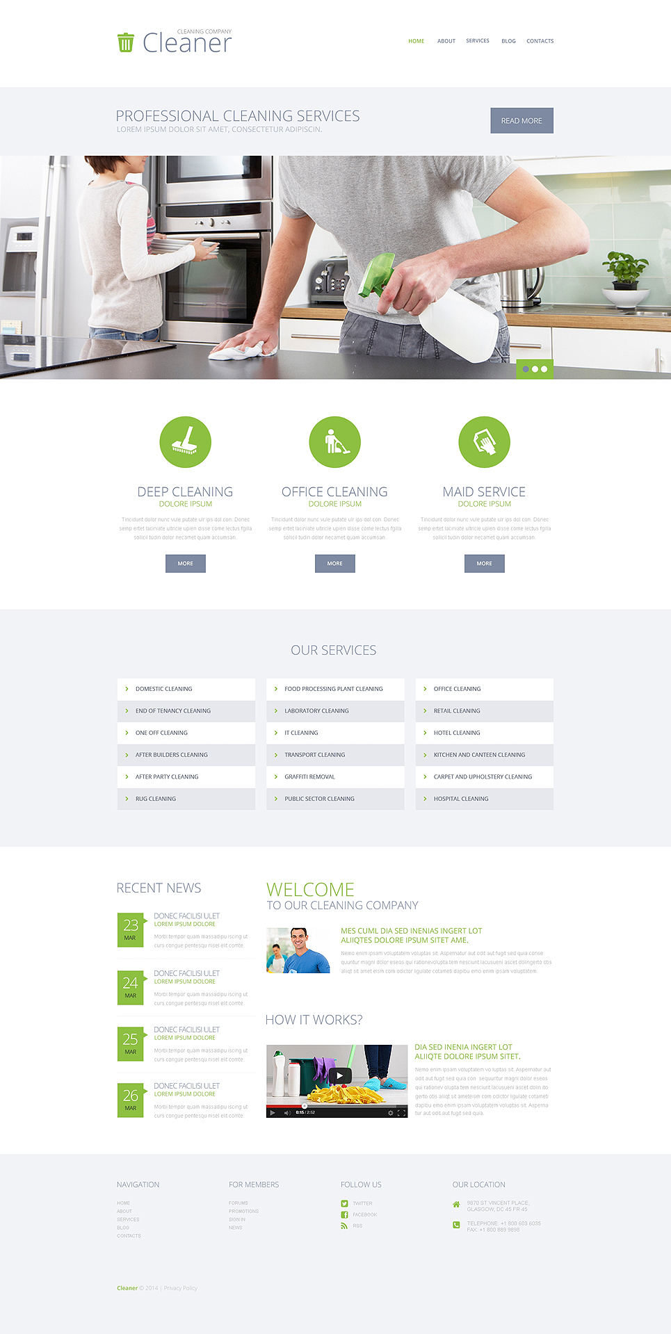 Cleaning Services WordPress Theme (maid service WordPress theme) Item Picture