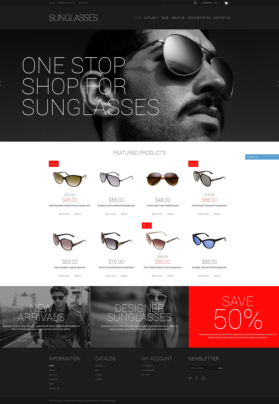 Elegant Sunglasses Shopify Theme (jewelry and accessories Shopify theme) Item Picture