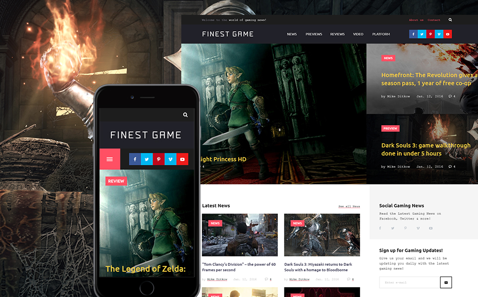 Game Portal WordPress Theme (WordPress theme for gaming sites) Item Picture
