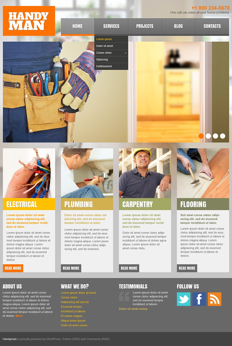Home Repairs Responsive WordPress Theme (handyman WordPress theme) Item Picture