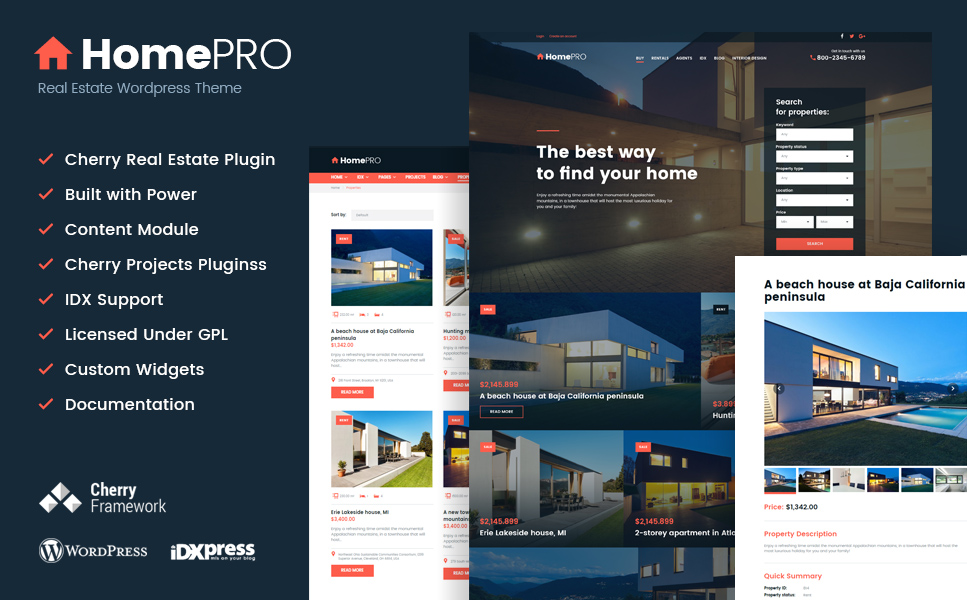 HomePro Real Estate Portal WordPress Theme