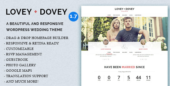 Lovey Dovey (free wedding invitation WordPress theme) Item Picture
