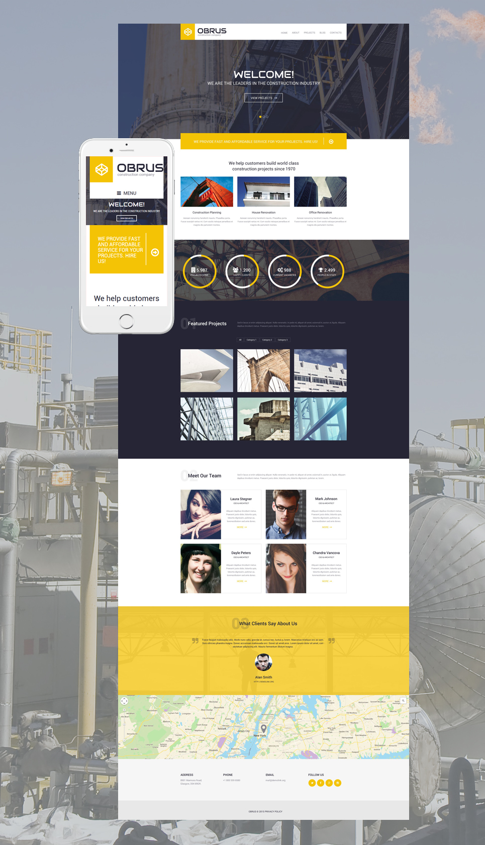 Obrus WordPress Theme (WordPress theme for the construction industry) Item Picture