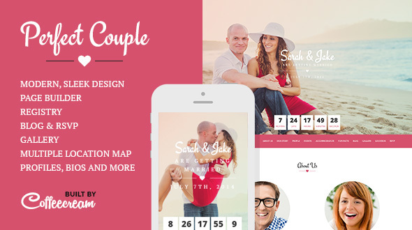 Perfect Couple (free wedding invitation WordPress theme) Item Picture