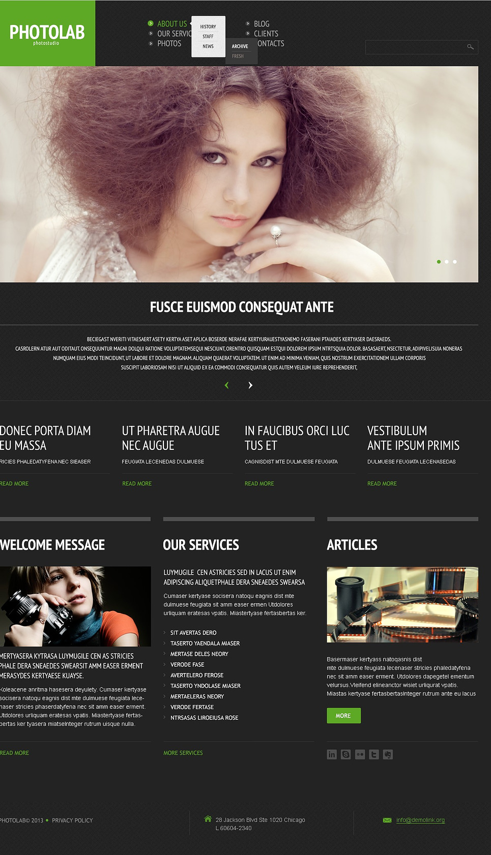 Photo Studio (dark WordPress theme for photography and photographers) Item Picture