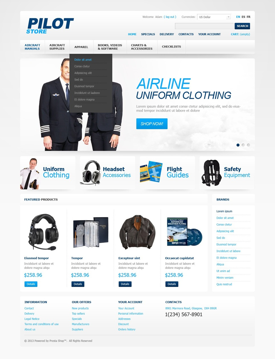 Pilot Store (PrestaShop template) Item Picture