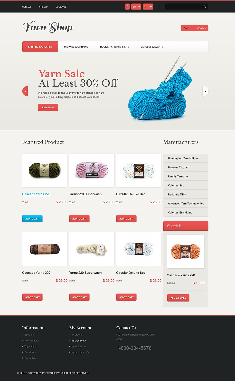 6 Best Knitting Sewing Yarn Store Ecommerce Website Templates