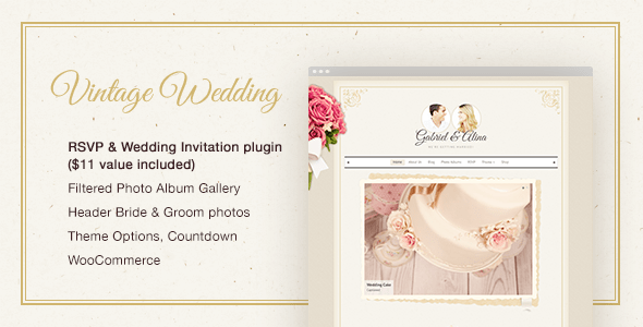 Vintage Wedding WordPress Theme (free wedding invitation WordPress theme) Item Picture