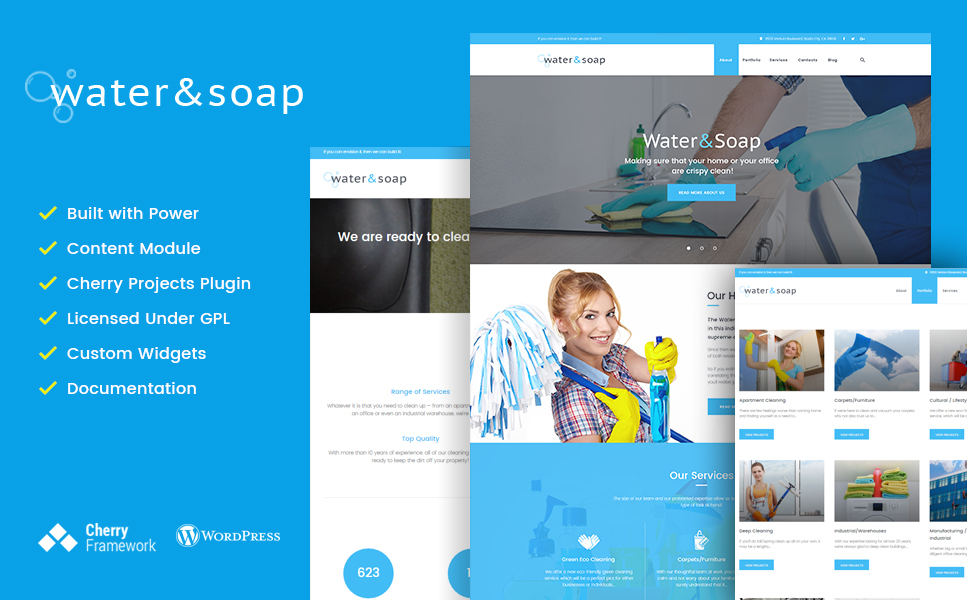 Water And Soap (maid service WordPress theme) Item Picture