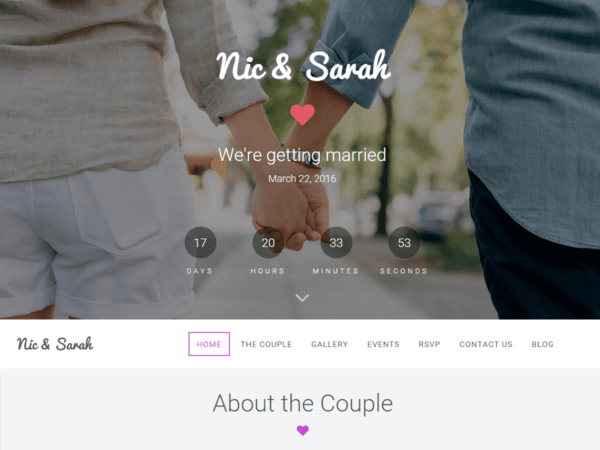 Nic and Sarah (free wedding invitation WordPress theme) Item Picture
