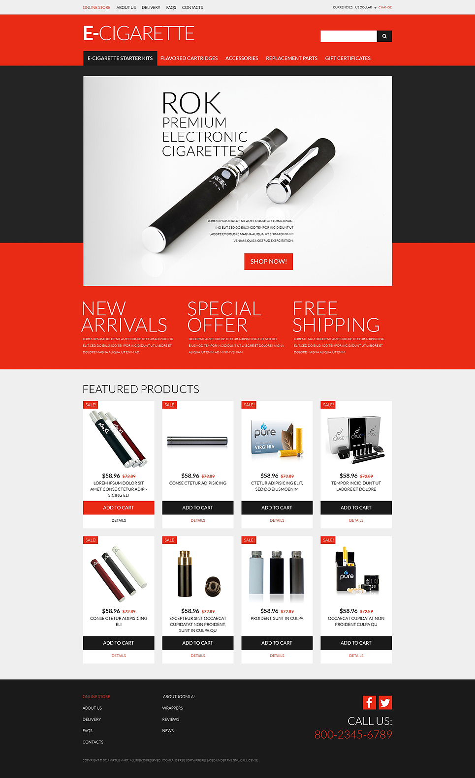 eCigs Vaping Supplies (online store template) Item Picture