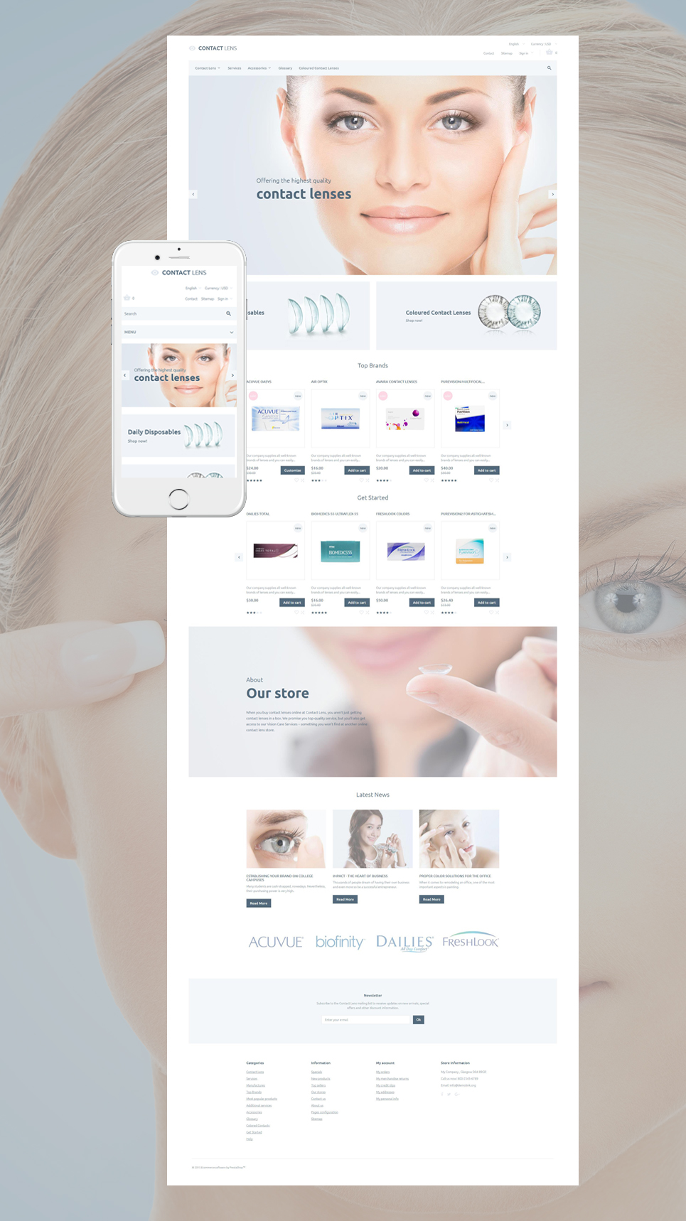 Contact Lenses Shop (ecommerce theme for PrestaShop) Item Picture