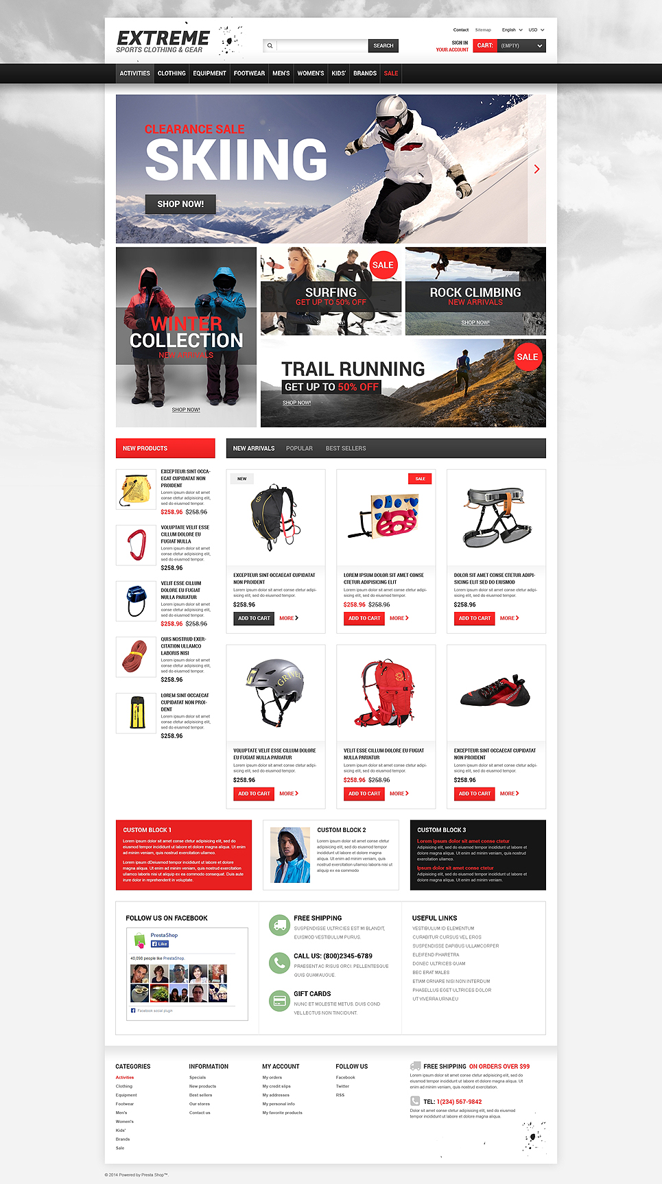 Extreme Sports Gear (ecommerce template for PrestaShop ) Item Picture