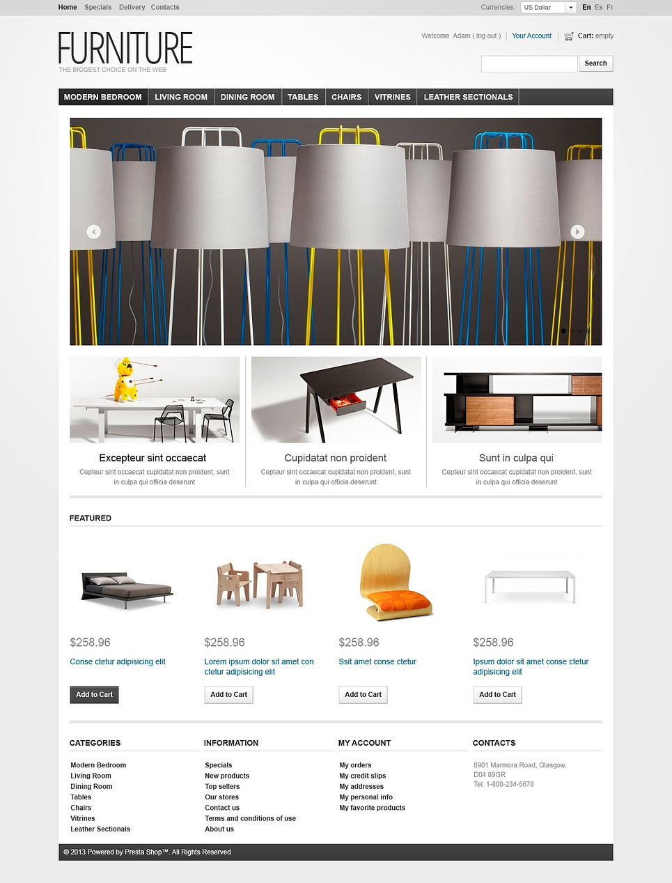 Furniture - Creating Comfort Theme (ecommerce PrestaShop theme) Item Picture